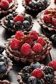Choklad tartlets med tillägg av hallon, blåbär och björnbär — Stockfoto