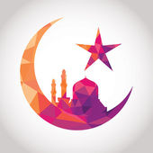 Colorful mosaic design - Mosque and Big Crescent moon, red color — Stock Vector