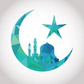 Colorful mosaic design - Mosque and Big Crescent moon, blue color — Stock Vector