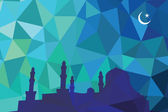 Colorful mosaic design - mosque black silhouette, blue color — Stock Vector