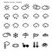 Icon set-weather-black line — Stock Vector
