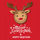 Merry christmas and happy new year, rudolph — Stock vektor
