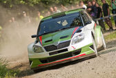 Rally car in action in drift with dust — Stock Photo