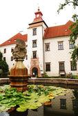 Castle and fountain in Trebon — Stock Photo