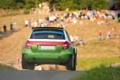 Rally car jump — Stock Photo