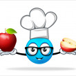 Blue people chef with apple — Stock Photo #69190239