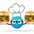 Blue people chef with pizza burger — Stock Photo #69198249