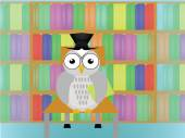 Owl in library — Stock Photo