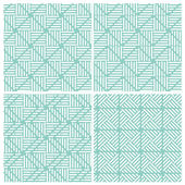 Set of four line combine square patterns — Stock Vector