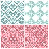 Set of four circle combine square patterns — Stok Vektör
