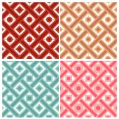 Set of four weave with circle and square patterns in indian style — Stock Vector