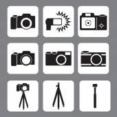DSLR Camera, flash, tripod, monopod vector icon — Stock Vector