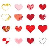 Set of art hearts vector — Stock Vector