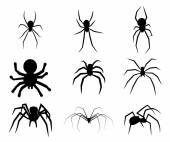 Conjunto de icono de spider silueta negro aislado sobre fondo blanco — Vector de stock