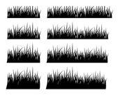 La valeur d'herbe de la silhouette noire de hauteur différente — Vecteur