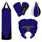 Boxing gloves, bag and helmet — Stockvector