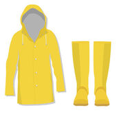 Rain coat and rubber boots — Stock Vector