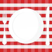 Tablecloth, plate, fork and knife — Stock vektor