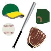 Bat, palla, guanto, cappello e campo di baseball — Vettoriale Stock