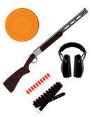 Skeet rifle, headphones for shooting, buckshot and clay disk — Stock Vector