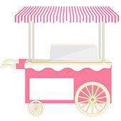 Ice cream pink cart — Stock Vector