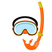 Orange diving mask and tube — Stock Vector