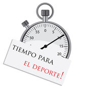 Stopwatch with spanish text — Stock Vector