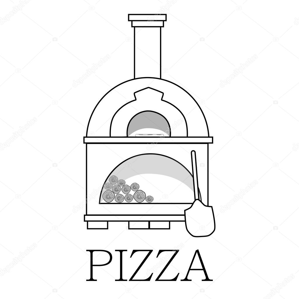 Pizza oven with text pizza outline drawing — Stock Vector © viktorijareut #74767041