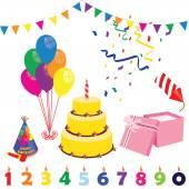 Birthday party elements — Stock Vector