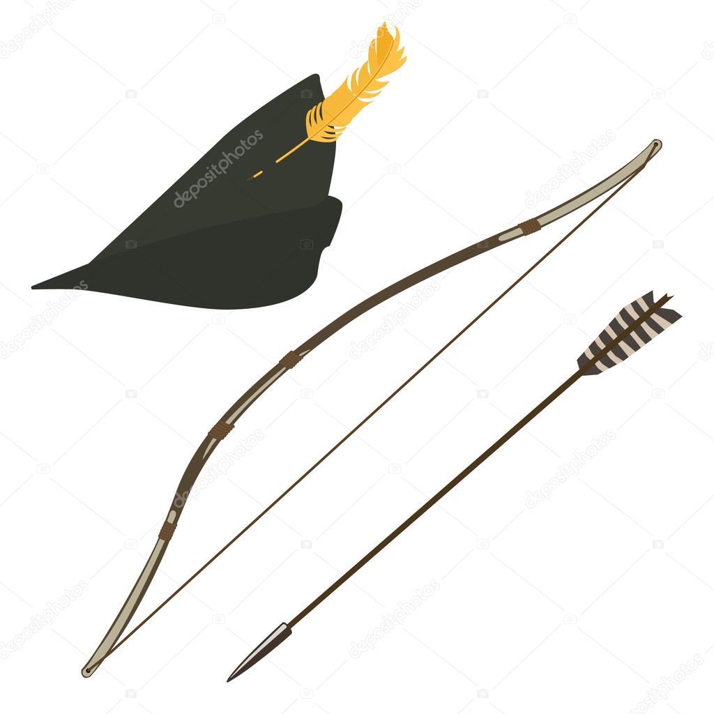 Flèche, ARC et chapeau de robin des bois — Image vectorielle  ~ Arc Robin Des Bois