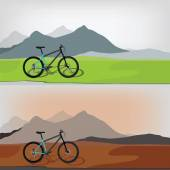 Bicycle in mountain landcape — Stock Vector