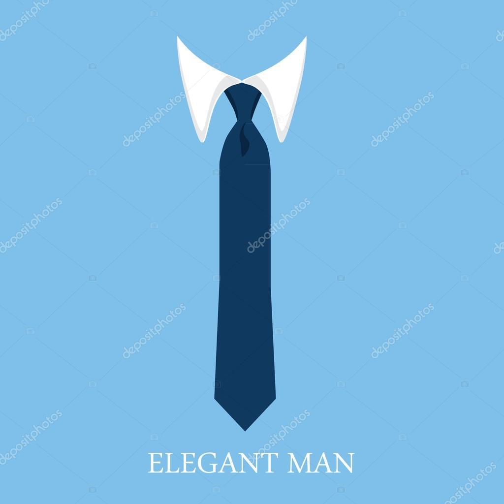 矢量图白色衬衫和蓝色领带上蓝色的背景