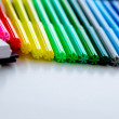 Back to school supplies, bright colored markers, paper erasers — Stock Photo #55979675