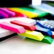 Back to school supplies, bright colored markers, paper erasers — Stock Photo #55979715