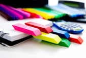 Back to school supplies, bright colored  markers, paper erasers  — Stock Photo
