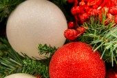 Christmas decorations, red and white ornaments — Stock Photo