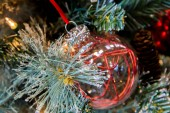 Christmas decorations, red glass ornaments — Stock Photo
