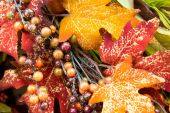 Fall colors home decorations - leaves  — Stock Photo