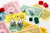 Monopoly board game in play — 图库照片