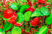 Christmas decorations - red and green garland with circles — Stock Photo