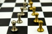 Chess game - pawns in rows, lined up — Stock Photo