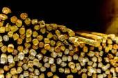 Pile of oxidizing construction rebar — Stock Photo