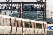 October 2, 2014: Washington, DC -Trains and overhead cables at U — Stock Photo