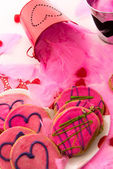 Valentines Day - decorations and cookies with pink frosting and  — Photo