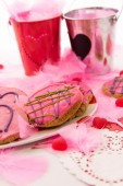 Valentines Day - decorations and cookies with pink frosting and  — Foto Stock