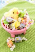 Gefärbte Ostereier und gelbe Küken — Stockfoto