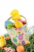 Easter bucket with colored eggs, candy and yellow chicks — Stock Photo
