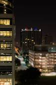 Downtown Houston buildings at night — Stock Photo