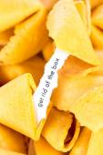 Open fortune cookie - GET RID OF THE BOX — Stock Photo