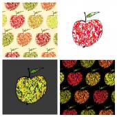 Set of vector colored illustrations and patterns with decorative apples. Endless repeating print background texture with clipping mask. — Stock Vector